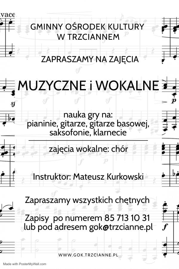 Plakat - zapraszamy na zajęcia muzyczne i wokalne
