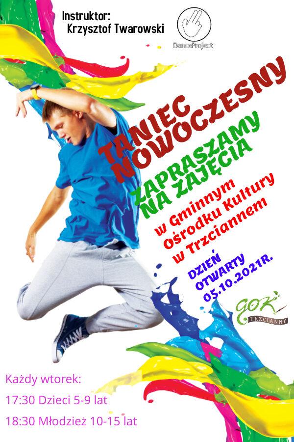 Plakat zajęcia taneczne wrzesien 2021